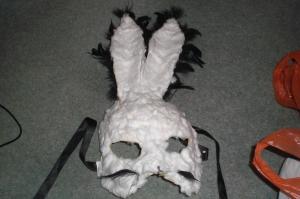 Paper mache rabbit mask